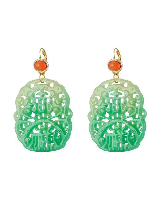 Kenneth Jay Lane - Green 7834elcj (light Coral/jade) Earring - Lyst