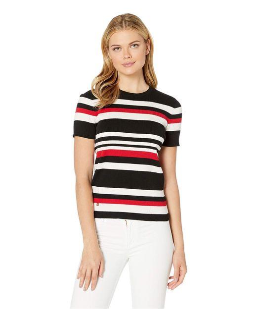 Lauren by Ralph Lauren Black Striped Cotton-blend Top