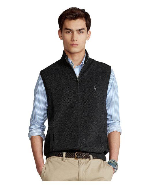 Polo Ralph Lauren Gray Birdseye Knit Cotton Full Zip Vest for men