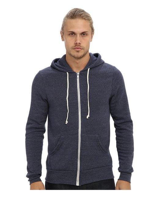 Alternative Apparel Blue Rocky Zip Hoodie for men