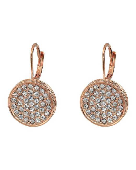 Vince Camuto - Metallic Rose Gold Pave Round Leverback Earrings (rose Gold) Earring - Lyst