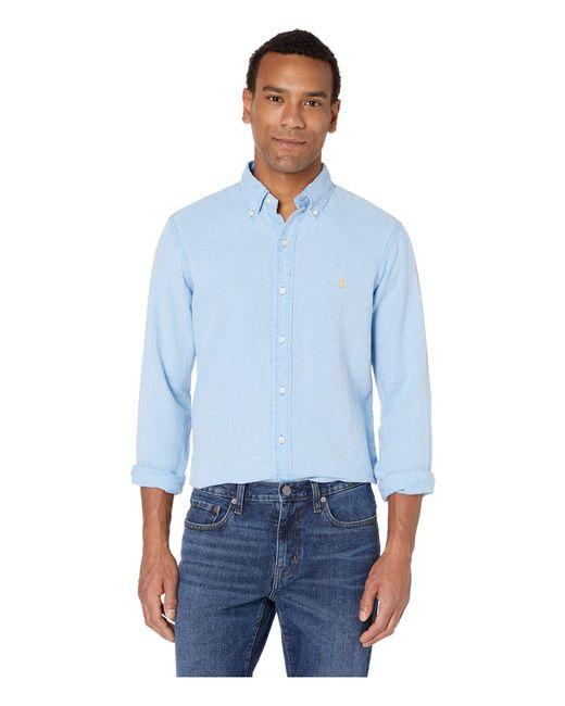 c8c1dd4cd Polo Ralph Lauren - Long Sleeve Classic Fit Linen Woven (riviera Blue) Men s  Clothing ...