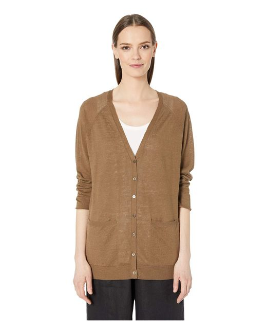 Eileen Fisher Brown Organic Linen Cotton V-neck Cardigan