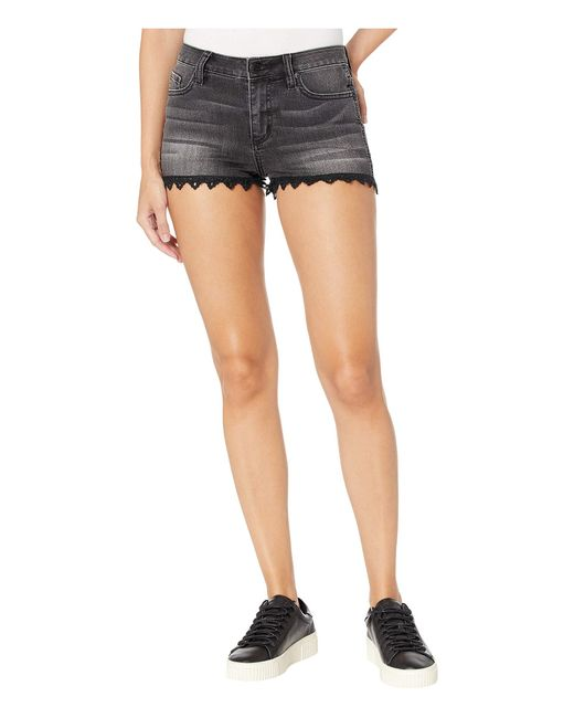 Miss Me Black Lace Bottom Shorts