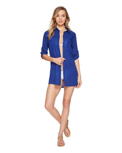 Lauren by Ralph Lauren - Blue Crushed Camp Shirt Cover-up - Lyst