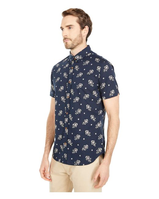 Ben Sherman Blue Short Sleeve Woven - Floral Print for men