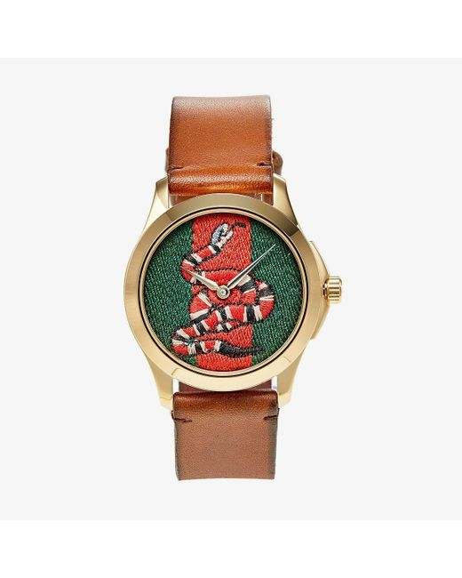 Gucci Brown Le Marche Des Merveilles Green And Red Dial Watch for men
