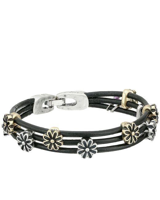 Lucky Brand - Black Flower Woven Bracelet (ttone) Bracelet - Lyst