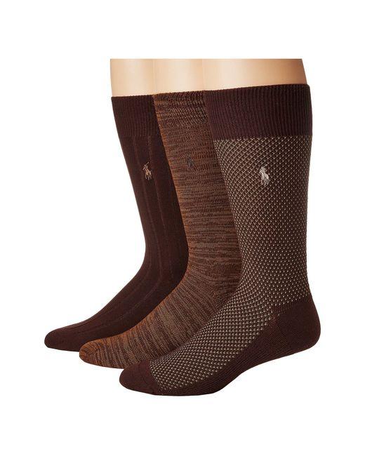 Polo Ralph Lauren - Brown Supersoft Birdseye 3-pack (black) Men's Crew Cut Socks Shoes for Men - Lyst