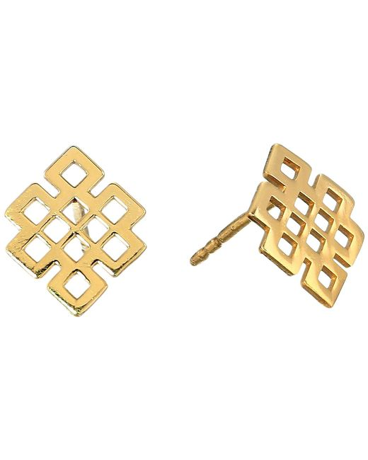 ALEX AND ANI - Metallic Endless Knot Post Earrings - Precious Metal (14kt Gold Plated) Earring - Lyst