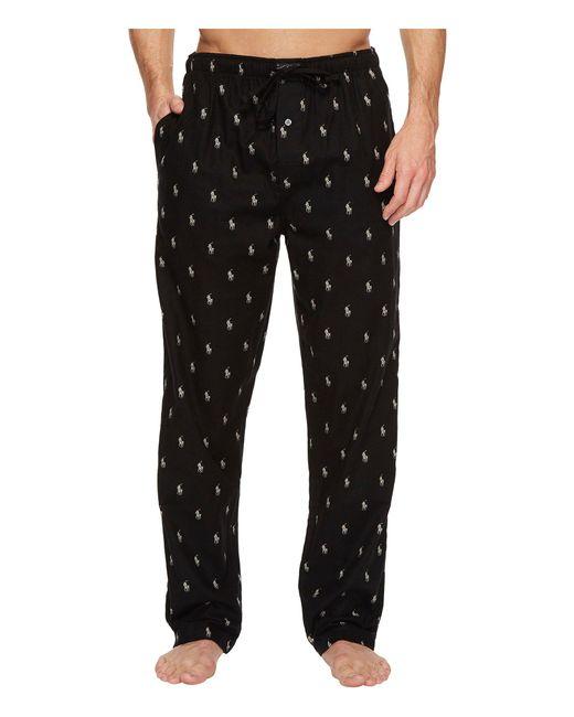 Polo Ralph Lauren - Black Printed Pony Cotton Pajama Pants for Men - Lyst