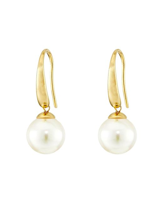Majorica - Metallic French Wire Round Pearl Drop Earrings - Lyst