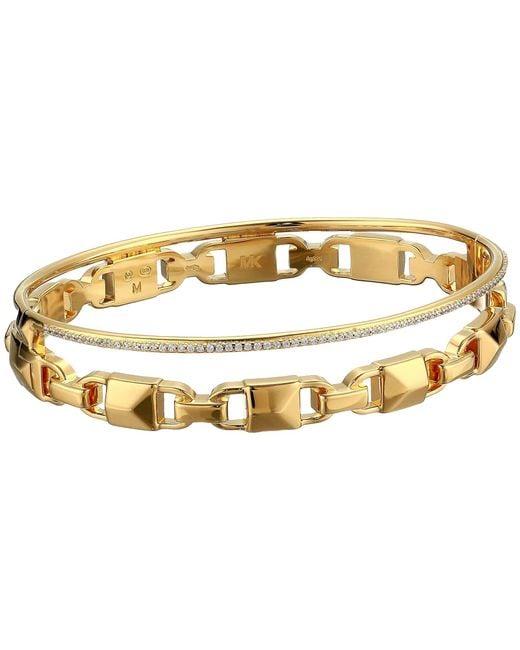 Michael Kors Metallic Precious Metal-plated Sterling Silver Mercer Link Pave Halo Bangle Bracelet