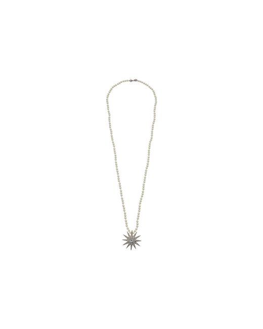 Kenneth Jay Lane - Metallic 36 White Pearls W/ Silver/crystal Starburst Pendant Necklace (white Pearl/silver/crystal) Necklace - Lyst