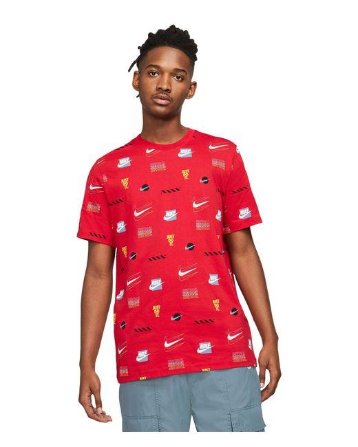 Nike Red Nsw Sp Brandmarks All Over Print Tee Clothing for men