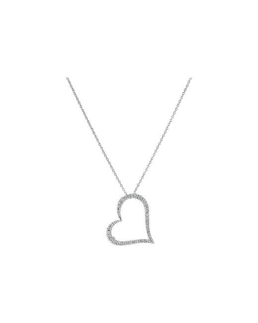 Roberto Coin - Metallic Tiny Treasures 18k White Gold Slanted Open Heart Necklace (white) Necklace - Lyst