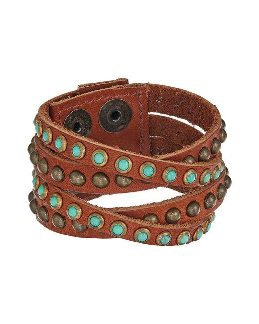 Leatherock - B339 (vintage Brown/turquoise/coral) Bracelet - Lyst