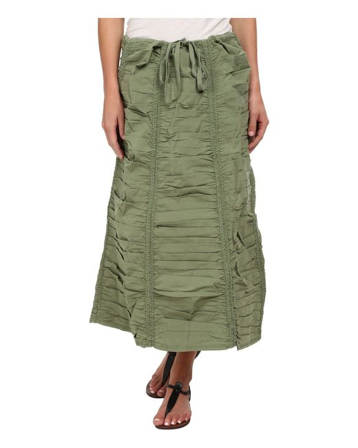 XCVI - Green Stretch Poplin Double Shirred Panel Skirt - Lyst