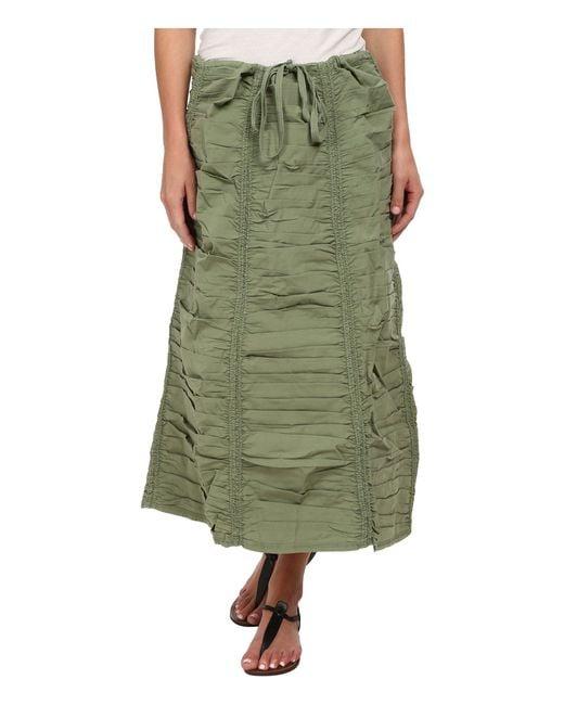 XCVI - Green Stretch Poplin Double Shirred Panel Skirt - Lyst