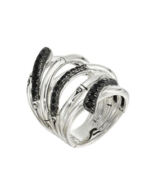 John Hardy - Metallic Bamboo Lava Extra Wide Ring With Black Sapphire (silver) Ring - Lyst