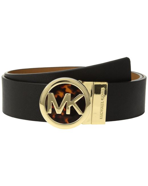 MICHAEL Michael Kors - Smooth Leather Reversible Belt (black/acorn) Women's Belts - Lyst