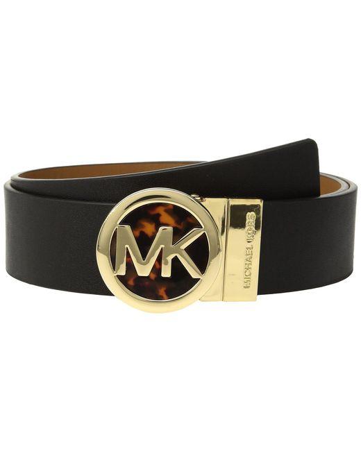 MICHAEL Michael Kors - Black Smooth Leather Reversible Belt - Lyst