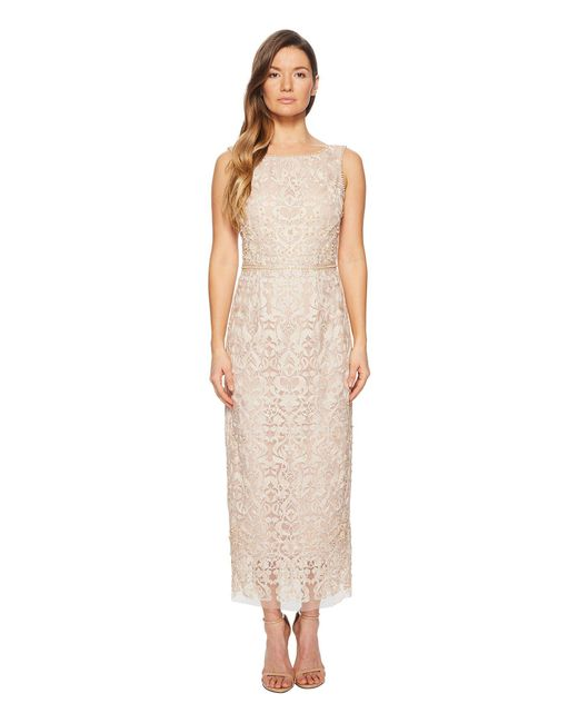 Notte by Marchesa - Sleeveless Metallic Embroidered Shift W/ Degrade Pearls And Beaded Waistband - Lyst