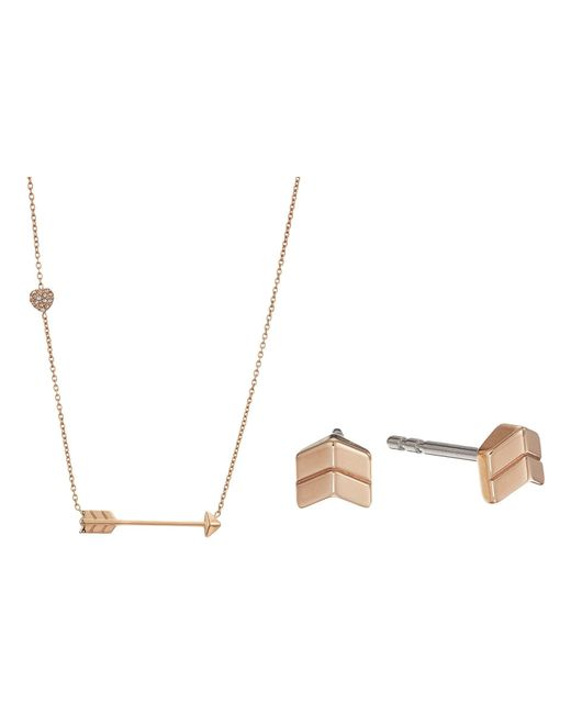 Fossil | Metallic Arrow Motif Studs And Arrow Necklace Gift Set | Lyst
