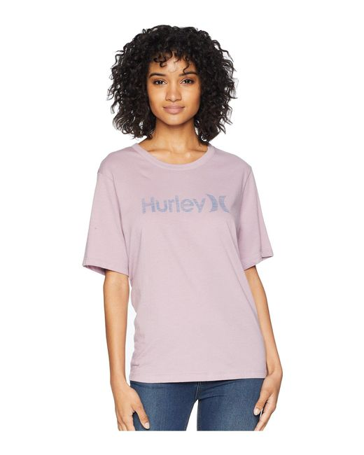 Hurley - Purple One And Only Solid Perfect Short Sleeve Crew (elemental Rose/light Carbon) Women's Clothing - Lyst