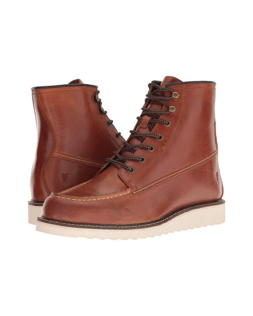 Frye - Brown Dawson Wedge Workboot (redwood Smooth Pull-up) Men's Boots for Men - Lyst