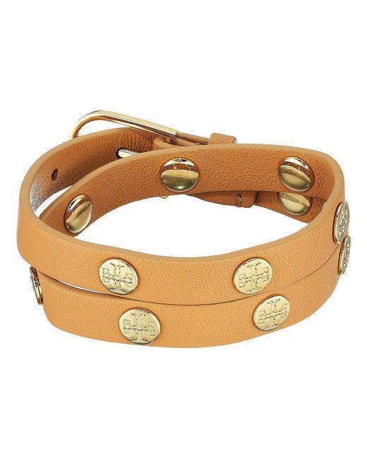 Tory Burch - Multicolor Double Wrap Logo Stud Bracelet (light Oak/rose Gold) Bracelet - Lyst