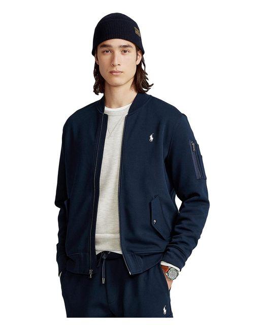 Polo Ralph Lauren Blue Double Knit Bomber Jacket for men