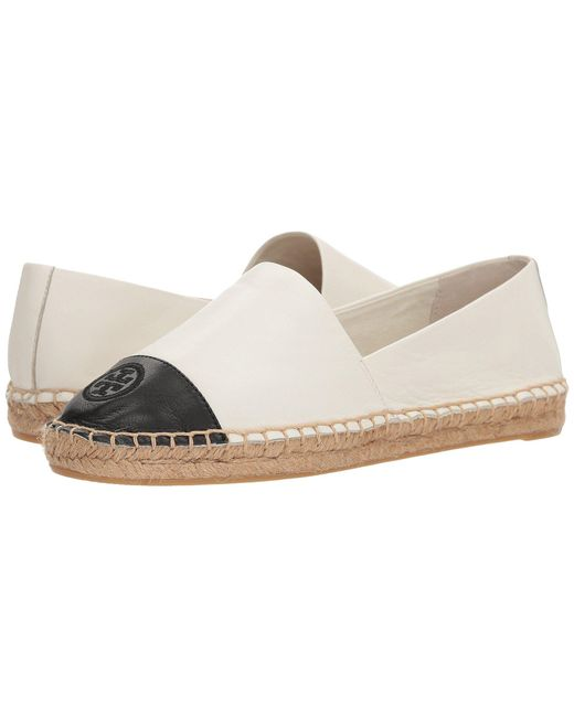 f20c093fe412 Tory Burch - White Color Block Flat Espadrille (ivory black Leather)  Women s Shoes ...
