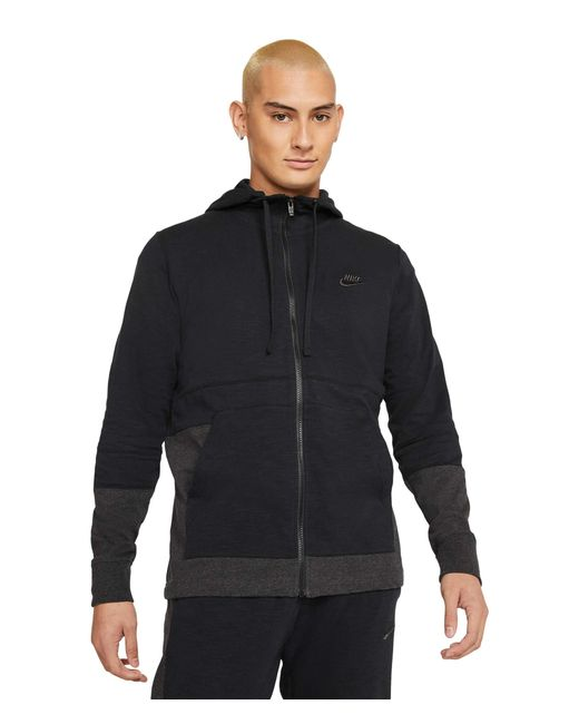 Nike Black Nsw Full Zip Jersey Color-block Hoodie Clothing for men