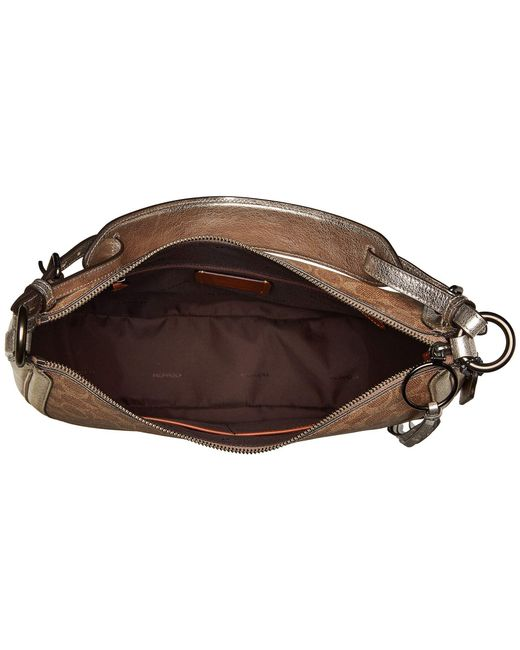 ... COACH - Brown Coated Canvas Signature Metallic And Exotics Sutton Hobo  (v5 tan Platinum ... 8ee1d345ede30
