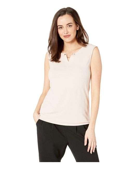 c412ed1d1c932 Calvin Klein - Natural Sleeveless Top With Crystal And Chain (blush 1) Women s  Sleeveless ...