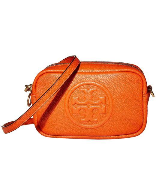 Tory Burch Orange Perry Bombe Leather Crossbody Bag