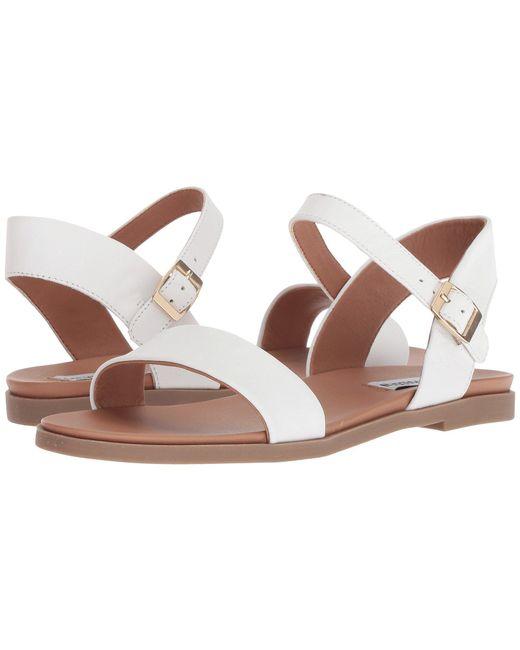 ed5ed0f63b0 Lyst - Steve Madden Dina Sandal (black Leather) Women s Sandals in White