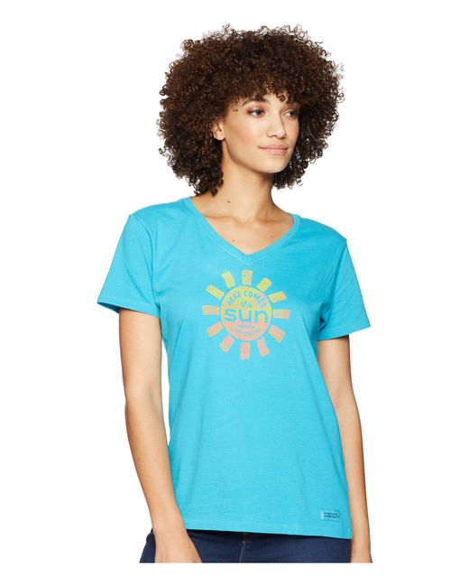 Life Is Good. - Here Comes The Sun Crusher Vee T-shirt (vivid Blue) Women's T Shirt - Lyst