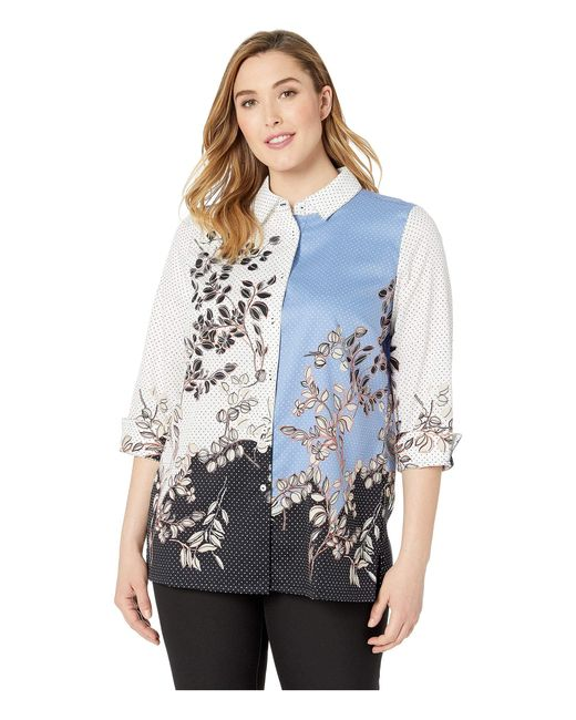 Foxcroft Blue Plus Libby Flowing Floral And Dot
