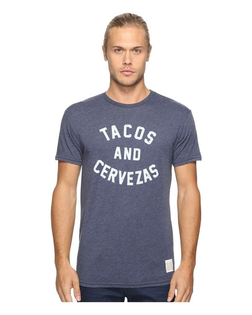 The Original Retro Brand - Blue Short Sleeve Heathered Tacos And Cervezas Tee (heather Navy) Men's T Shirt for Men - Lyst