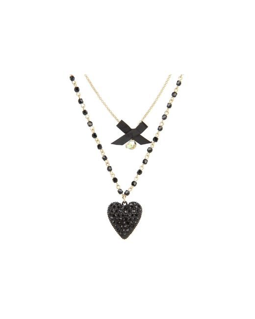 Betsey Johnson - Iconic Glitter Heart Two-row Necklace (black) Necklace - Lyst