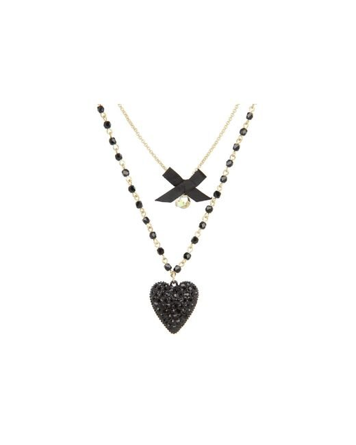 Betsey Johnson - Black Iconic Glitter Heart Two-row Necklace - Lyst