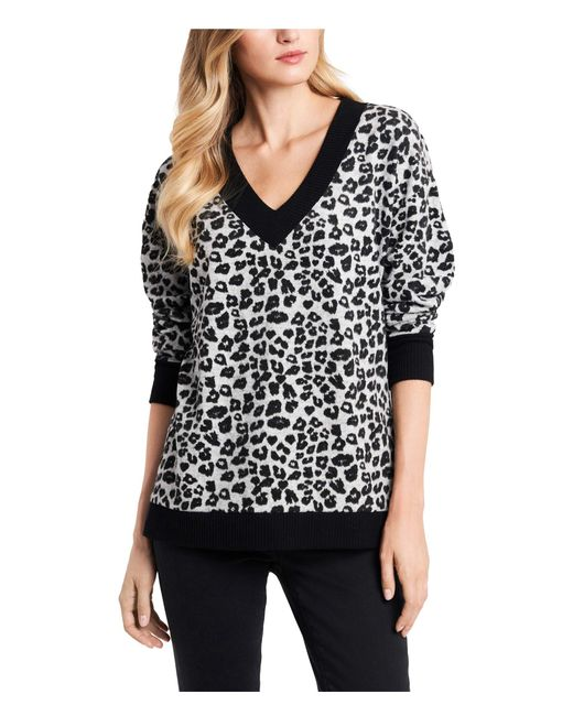 Vince Camuto Metallic Long Sleeve Leopard Jacquard Cozy V-neck Top Clothing