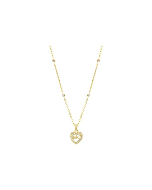 Michael Kors - Metallic Love Is In The Air Pave Heart Pendant Necklace (gold) Necklace - Lyst