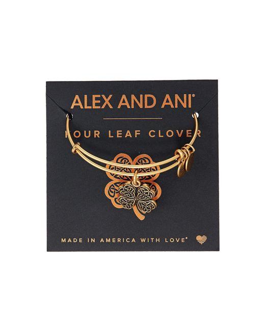 ALEX AND ANI - Metallic Path Of Symbols-four Leaf Clover Iv Bangle (rafaelian Gold) Bracelet - Lyst