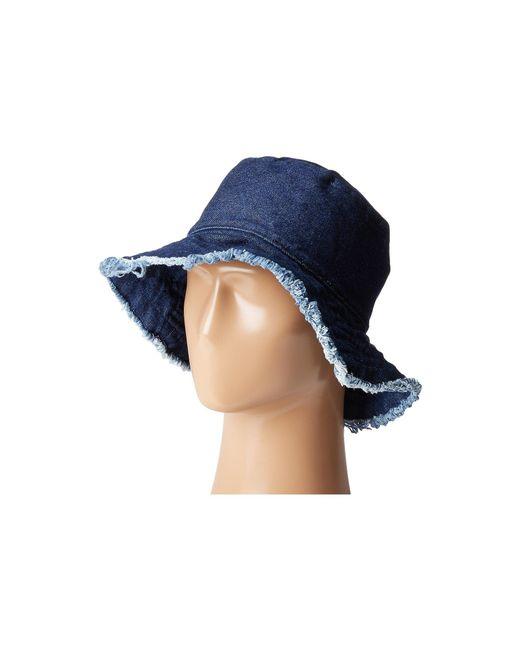 Hat Attack - Blue Frayed Edge Crusher (dark Denim) Caps - Lyst