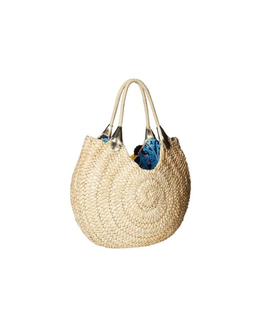 Lilly Pulitzer Positano Straw Tote Bag Natural In Too Deep