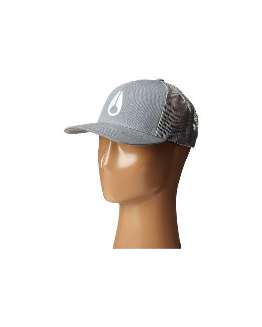 Nixon - Gray Iconed Trucker Hat - Lyst ... 97a0b45f129
