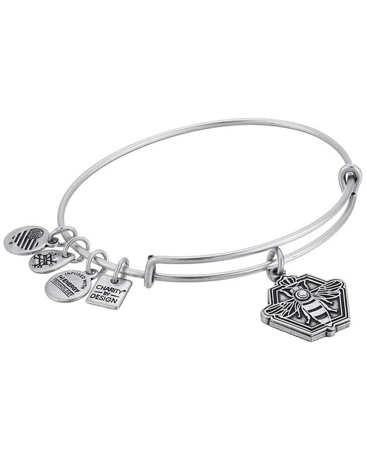 ALEX AND ANI - Metallic Charity By Design Queen Bee Bangle (rafaelian Silver) Bracelet - Lyst